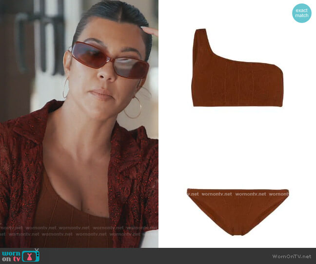 Nancy Nile bikini set by Hunza G worn by Kourtney Kardashian  on Keeping Up with the Kardashians