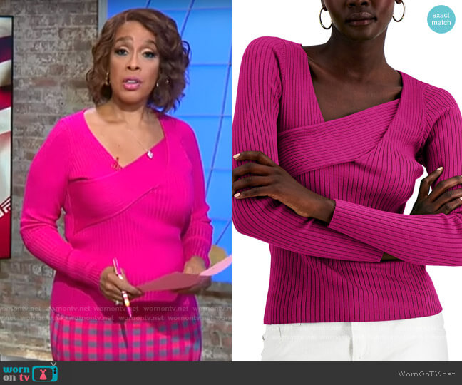 INC International Concepts Asymmetrical Rib Sweater in Jazzy Pink worn by Gayle King  on CBS This Morning