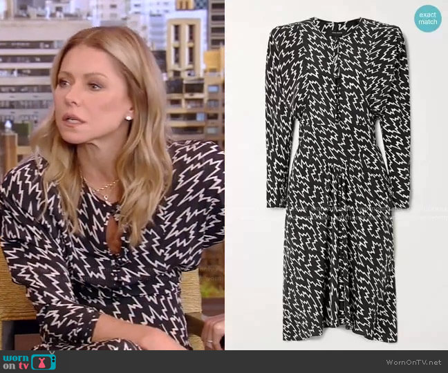 Ibelky Gathered Printed Dress by Isabel Marant worn by Kelly Ripa  on Live with Kelly & Ryan