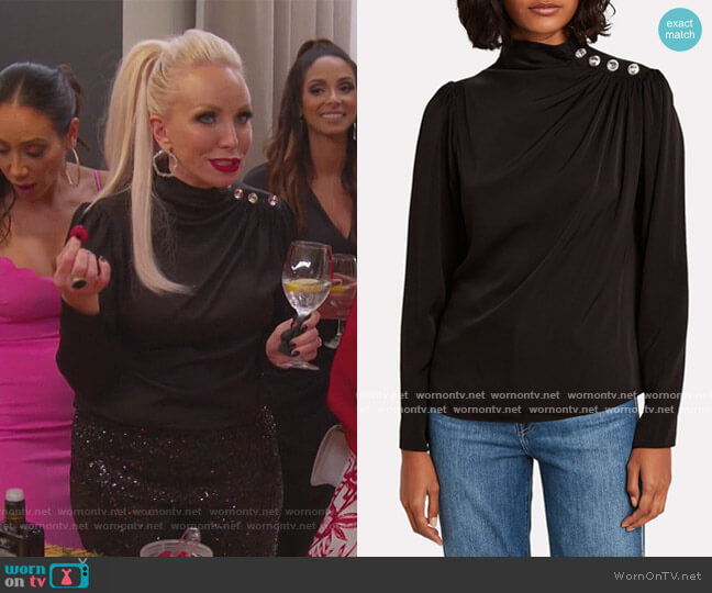 Charity Embellished Silk Blouse by Intermix worn by Margaret Josephs  on The Real Housewives of New Jersey