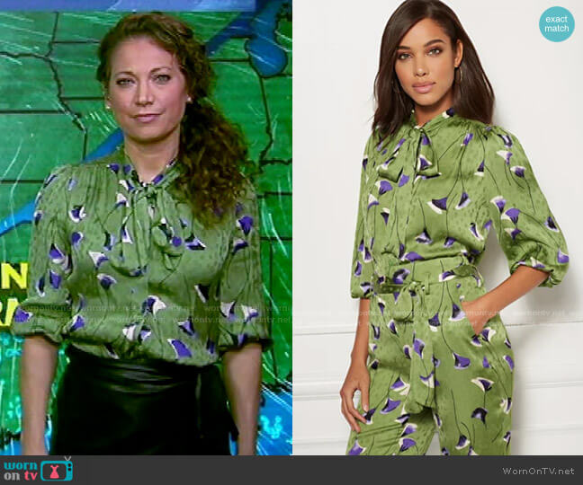 Isabella Bow Blouse - Eva Mendes Collection by New York & Company worn by Ginger Zee  on Good Morning America