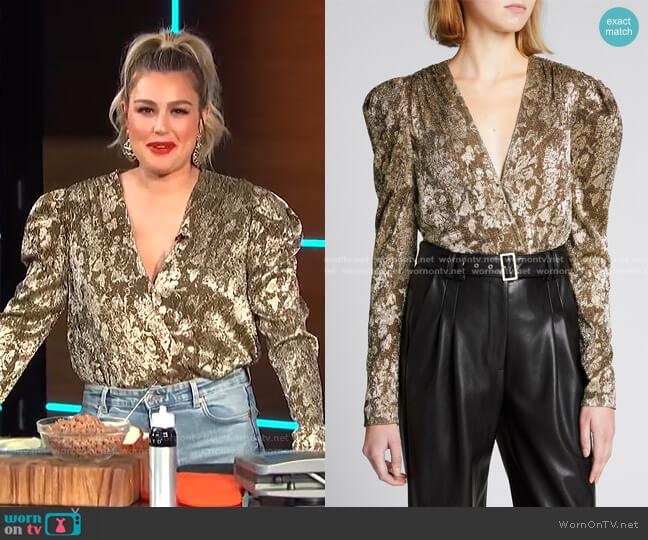 Shaina Metallic Plisse Wrap Bodysuit by Jonathan Simkhai worn by Carissa Loethen Culiner  on E! News