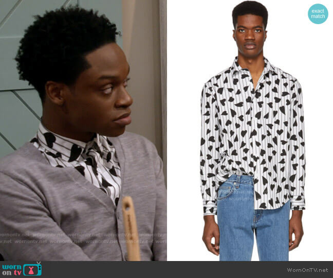 JW Anderson Black and White Heart Stripe Shirt worn by Lane (Austin Crute) on Call Your Mother