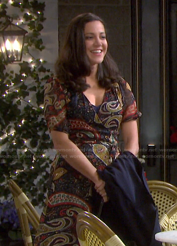 Jane's paisley print wrap dress on Days of our Lives