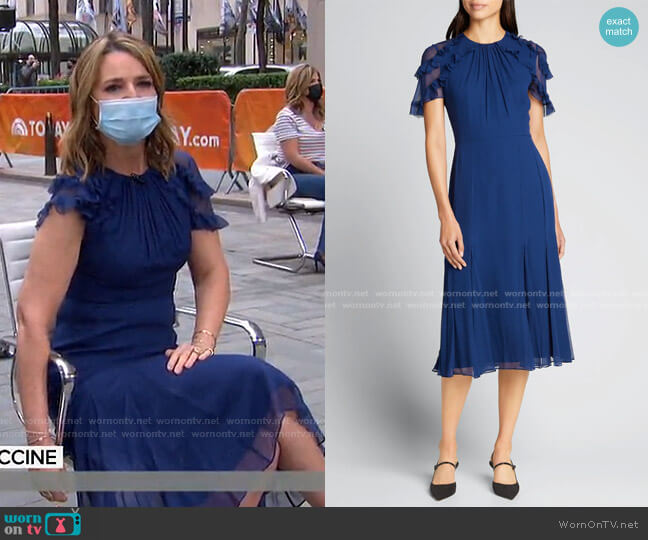 Chiffon Flutter-Sleeve Midi Dress by Jason Wu Collection worn by Savannah Guthrie  on Today