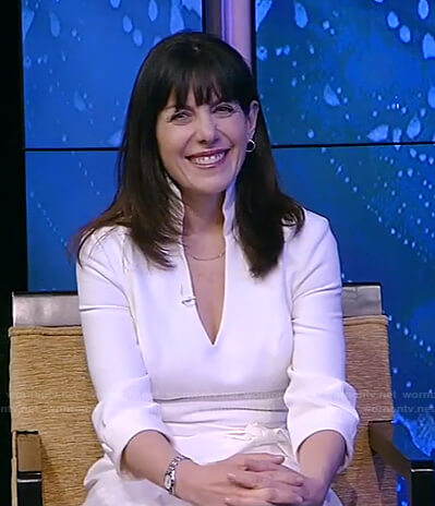 Jean Chatzky's white v-neck dress on Live with Kelly and Ryan