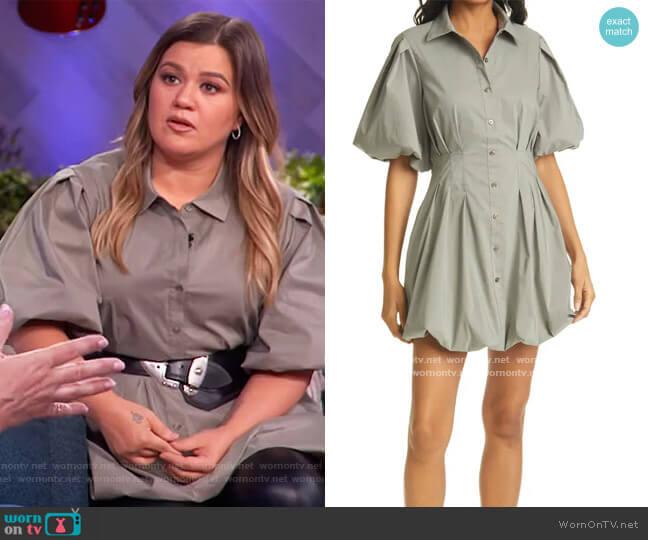 Cleo Balloon Skirt Poplin Shirtdress by Jonathan Simkhai worn by Kelly Clarkson  on The Kelly Clarkson Show