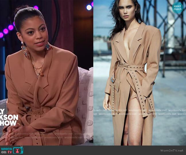 Raynia Felt Coat by Jovana Louis worn by Arica on The Kelly Clarkson Show
