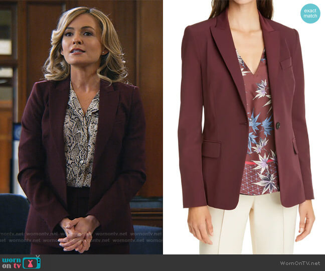 Expressionist Suit Jacket by Judith & Charles worn by Amy Quinn (Lindsey Gort) on All Rise