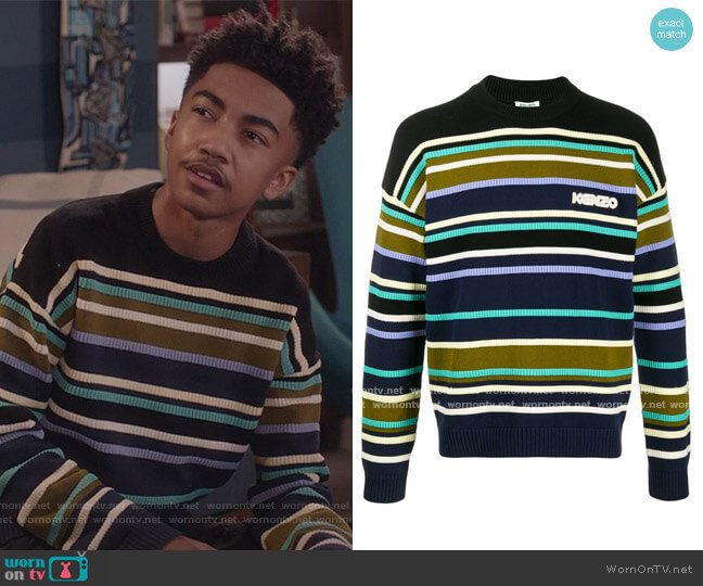 Striped Logo Jumper by Kenzo worn by Jack Johnson (Miles Brown) on Blackish