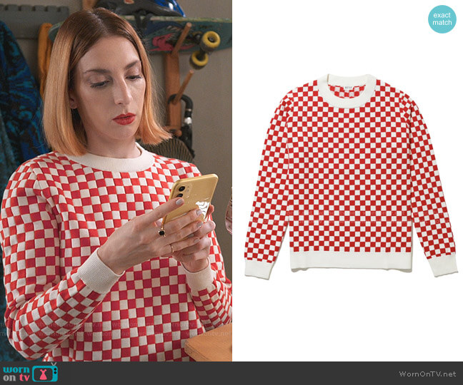 The Check Mate Sweater by Kule worn by Lauren (Molly Bernard) on Younger