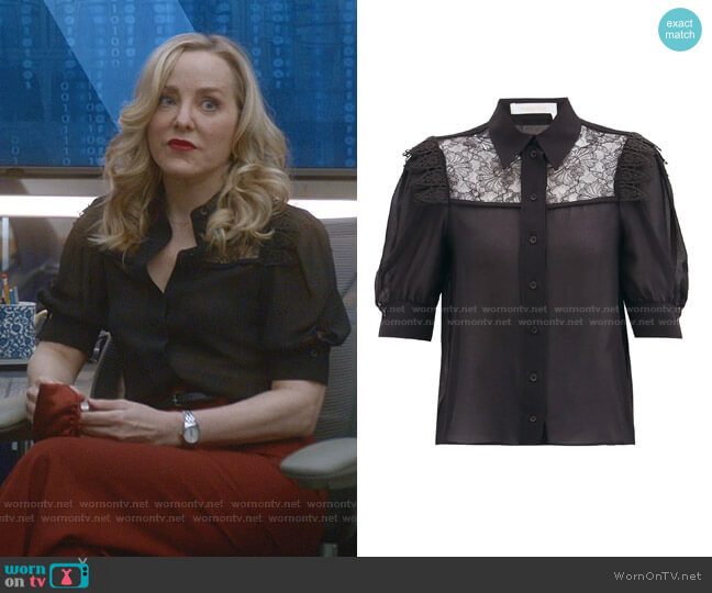 Lace-Panelled Georgette Blouse by See by Chloe worn by Marissa Morgan (Geneva Carr) on Bull
