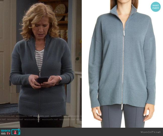 Lafayette 148 New York Cashmere Knit Jacket worn by Vanessa Baxter (Nancy Travis) on Last Man Standing