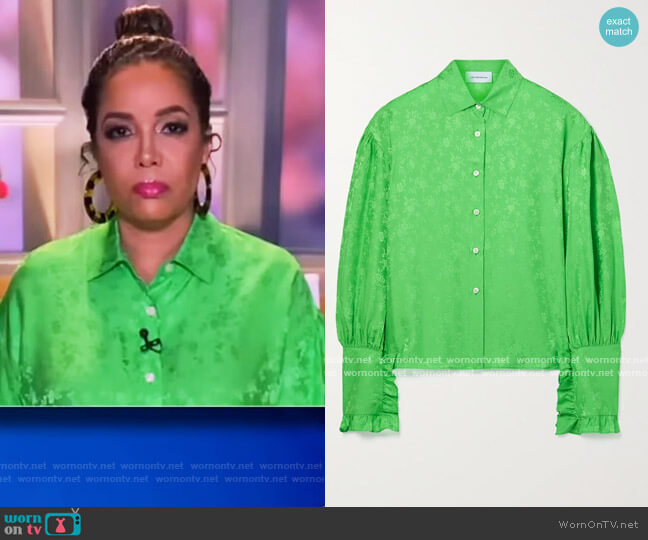 Ruffled silk-jacquard shirt by Les Reveries worn by Sunny Hostin  on The View