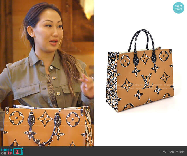 Monogram Giant Jungle Onthego Tote by Louis Vuitton worn by Tiffany Moon  on The Real Housewives of Dallas