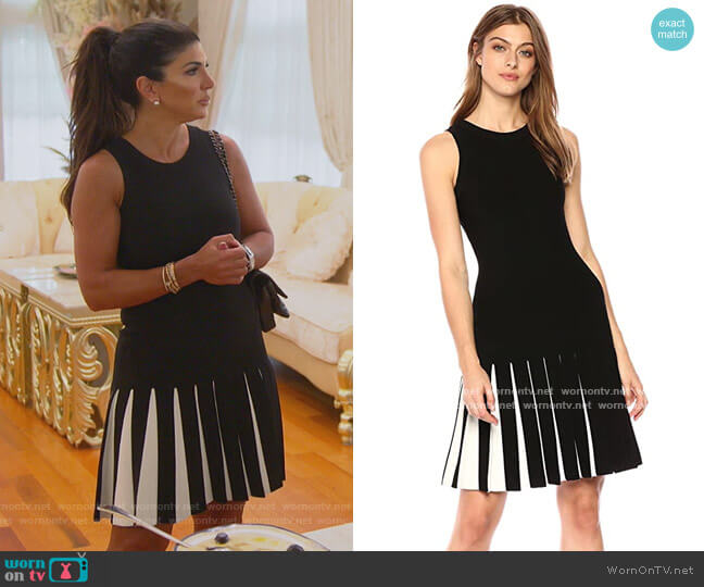 Pleated Contrast Mermaid Dress by Milly worn by Teresa Giudice  on The Real Housewives of New Jersey