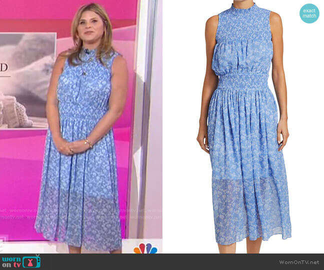 Printed Sleeveless Smocked Dress by ML Monique Lhuillier worn by Jenna Bush Hager  on Today