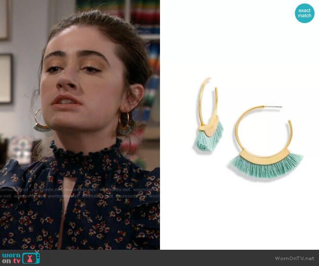 Madewell Fringe Hoop Earrings worn by Jackie Raines (Rachel Sennott) on Call Your Mother