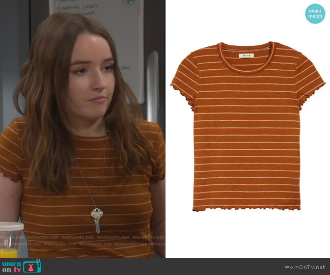 Stripe Print Cropped Baby T-Shirt by Madewell worn by Eve Baxter (Kaitlyn Dever) on Last Man Standing