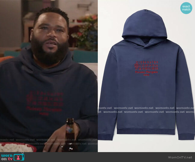 Oversized Logo-Embroidered Loopback Cotton-Jersey Hoodie by Maison Margiela worn by Andre Johnson (Anthony Anderson) on Blackish
