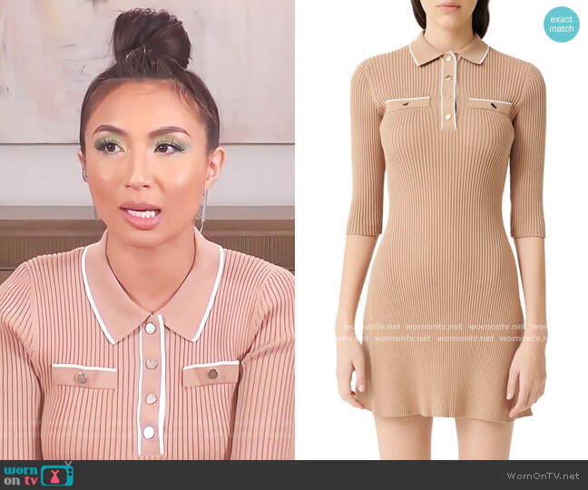Relly Rib-Knit Short Dress by Maje worn by Jeannie Mai  on The Real