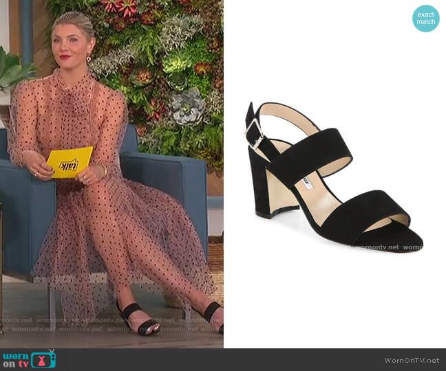 Khan Block-Heel Suede Slingback Sandals by Manolo Blahnik worn by Amanda Kloots  on The Talk