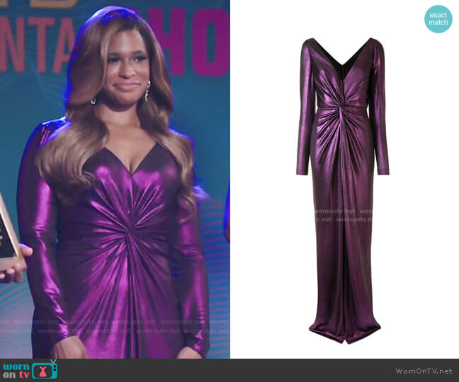 Metallic Ruched V-neck Dress by Marchesa Notte worn by Mika (Kimrie Lewis) on Kenan