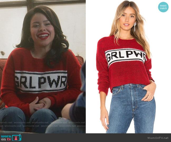 GRL PWR Destroyed Sweater by Marled x Olivia Culpo worn by Mariana Foster (Cierra Ramirez) on Good Trouble