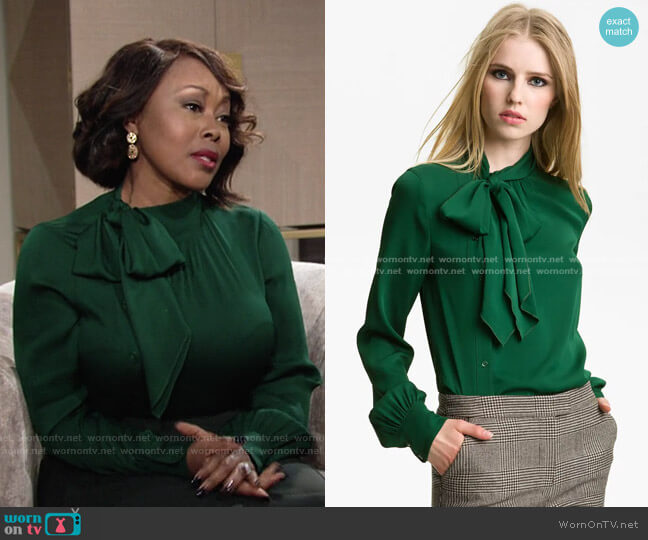 Maryna Side Placket Blouse by Rachel Zoe worn by Naya Benedict (Ptosha Storey) on The Young & the Restless
