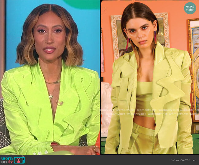 Granny Smith Squiggle Blazer by Mia Vesper worn by Elaine Welteroth  on The Talk