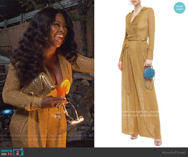 Wrap-effect metallic crochet-knit wide-leg jumpsuit by Missoni worn by Kenya Moore  on The Real Housewives of Atlanta