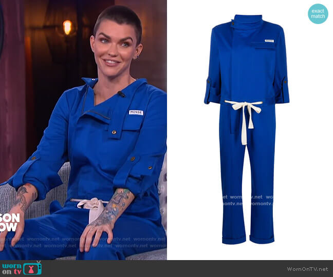 Racer cotton jumpsuit by Monse worn by Ruby Rose on The Kelly Clarkson Show