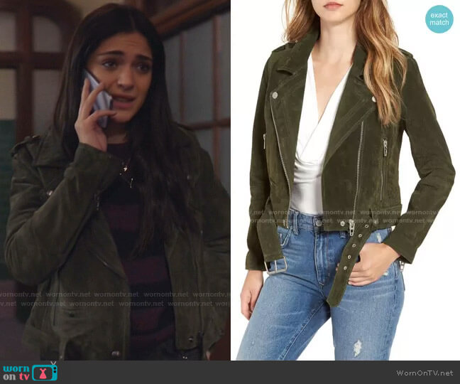 Morning Suede Moto Jacket by Blank NYC worn by Olive Stone (Luna Blaise) on Manifest