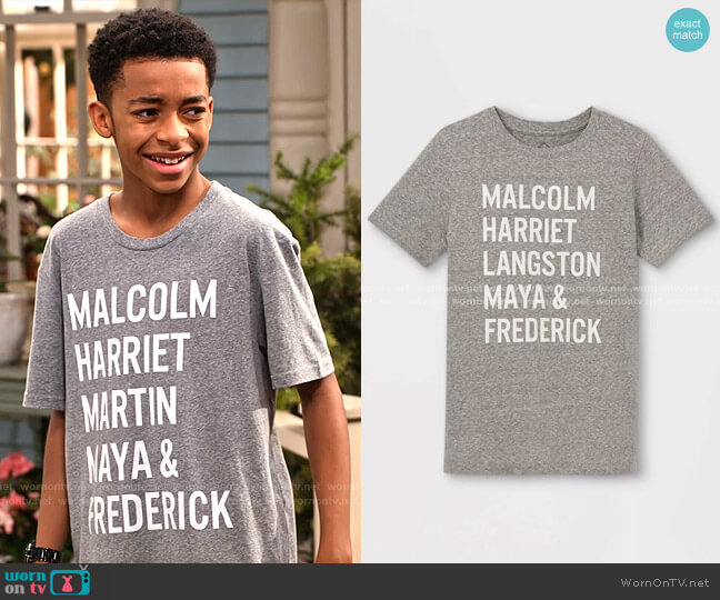 Names Graphic Short Sleeve T-Shirt by Well Worn at Target worn by Shaka McKellan (Isaiah Russell-Bailey) on Family Reunion