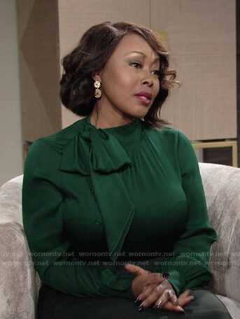 Naya's green tie neck blouse on The Young and the Restless