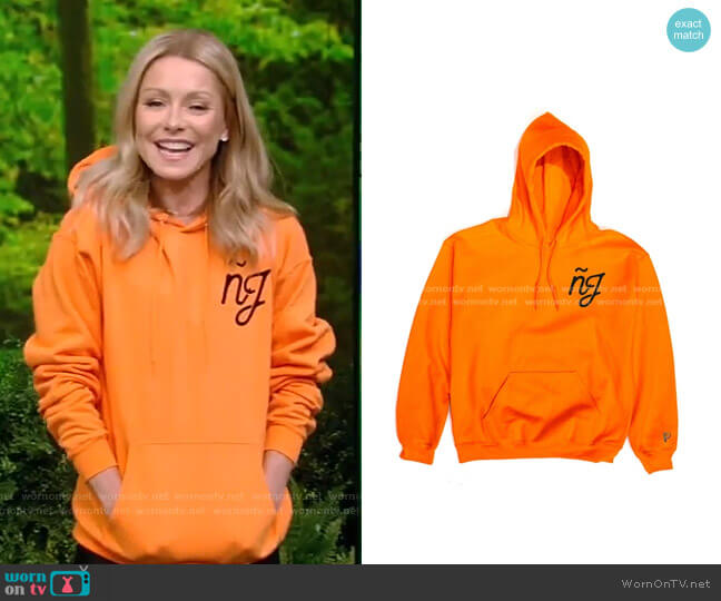 Nueva Jersey Script Hoodie by Peralta Project worn by Kelly Ripa  on Live with Kelly & Ryan