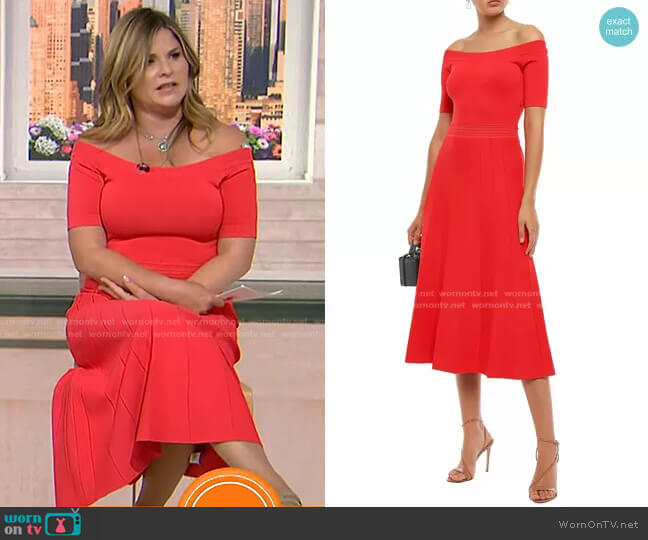 Off-the-Shoulder Pointelle-Trimmed Stretch-Knit Midi Dress by Lela Rose worn by Jenna Bush Hager  on Today