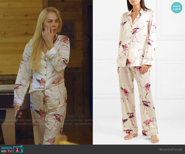 Lila Printed Silk-Satin Pajama Set by Olivia von Halle worn by Kameron Westcott  on The Real Housewives of Dallas