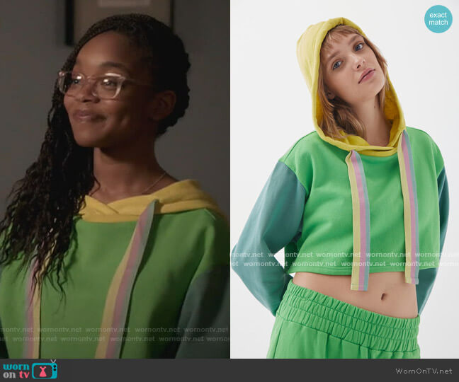 Dalia Cropped Hoodie by Out From Under worn by Diane Johnson (Marsai Martin) on Blackish