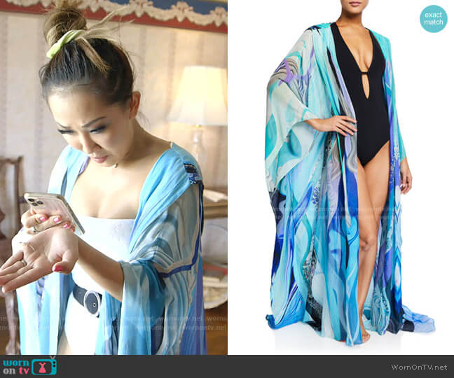 Oversized Silk Chiffon Robe by Camilla worn by Tiffany Moon  on The Real Housewives of Dallas