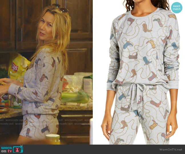 Boot Print Pajama Top by PJ Salvage worn by Kary Brittingham  on The Real Housewives of Dallas