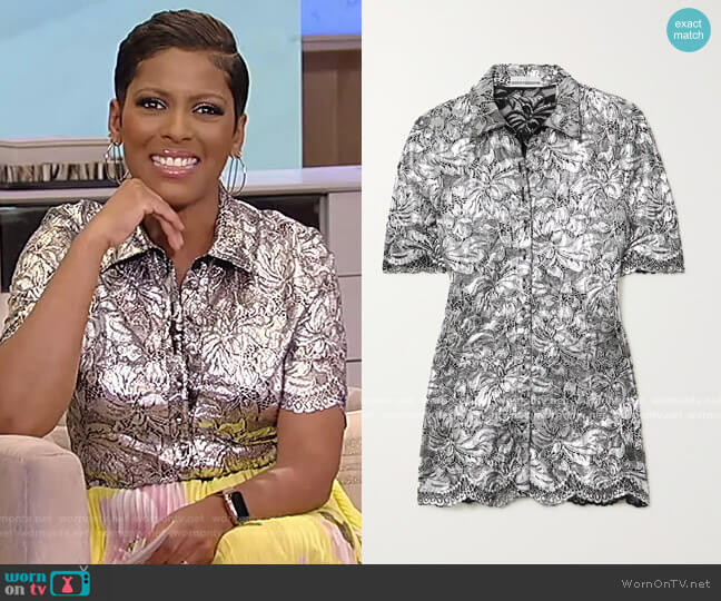Metallic coated corded lace blouse by Paco Rabanne worn by Tamron Hall  on Tamron Hall Show