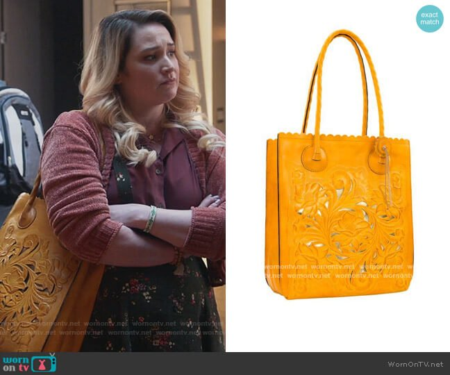 Cavo Tooled Leather Tote by Patricia Nash worn by Davia (Emma Hunton) on Good Trouble