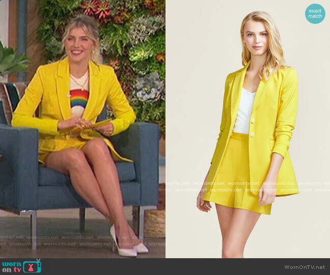 Stretch Cotton Push Up Sleeve Blazer and Shorts by Pearl by Lela Rose worn by Amanda Kloots  on The Talk