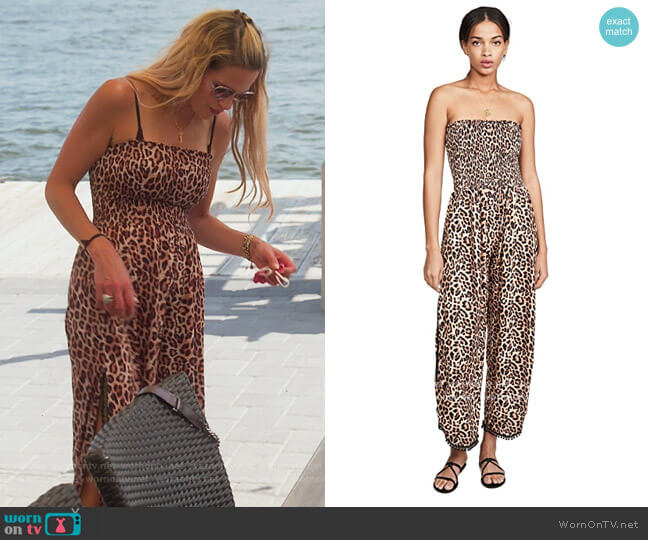 Leopard Jumpsuit by Peixoto worn by Jackie Goldschneider  on The Real Housewives of New Jersey
