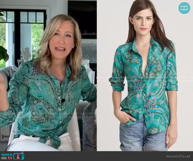 Perfect Shirt in Casbah Paisley by J. Crew worn by Lara Spencer  on Good Morning America