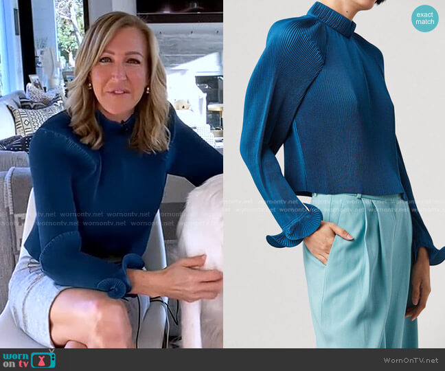 Pleated Cropped Top by Tibi worn by Lara Spencer  on Good Morning America
