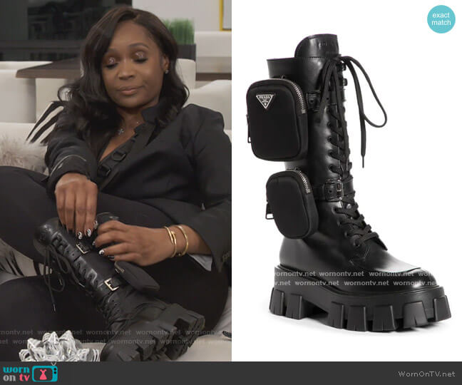 Removable Pouch Combat Boot by Prada worn by Marlo Hampton on The Real Housewives of Atlanta