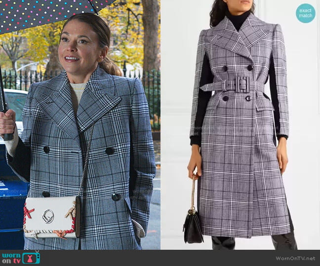 Prince of Wales Checked Coat by Givenchy worn by Liza Miller (Sutton Foster) on Younger