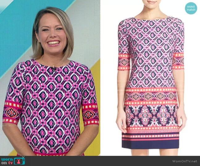 Print Jersey Shift Dress by Eliza J worn by Dylan Dreyer  on Today